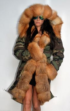 NEW 2015 Military Camouflage Parka Coat Gold FOX FUR Clas Sable Mink Chinchilla | eBay