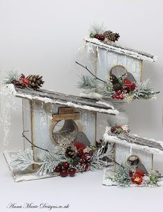 This great 3D MDF set pf Bird Houses with Bird is great to be used as a platform for all types of decoration for any occasion. Beautiful to create a Christmas mood and scenery by adding few more embellishments.