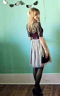 Love the vintage-inspired look coupled with the semi-opaque tights!