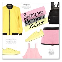 """""""Summer Bomber Jacket"""" by kellylynne68 ❤ liked on Polyvore featuring River Island, Moschino, adidas and STELLA McCARTNEY"""