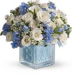 Teleflora's Blue Baby Block - keepsake for the nursery  http://www.teleflora.com/flowers/bouquet/babys-first-block-by-teleflora--blue-372695p.asp