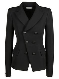 BALENCIAGA Balenciaga Black Double-Breasted Blazer. #balenciaga #cloth #coats-jackets