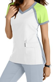 Get a healthy start to spring with this sporty new offering from the popular Grey's Anatomy collection! A color block crossover v-neck design highlights this delightful junior fit scrub top. We love it in this White/Moonstruck/Lemonade color combination! | Scrubs & Beyond