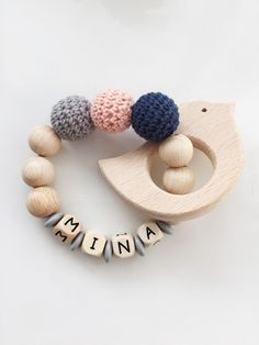 Wooden handring with crochet wooden beads, customizable as a gift / wooden customizable rattle for b Diy Love, Beading For Kids, Wooden Baby Toys, Dummy Clips, Unique Baby Gifts, Baby Rattle, Baby Makes, Diy Birthday, Baby Accessories