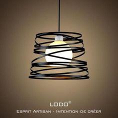 LoDo® Nordic Fer PERSONNALITE créative lustre salon moderne lampshade salle à manger de chambre den Ø32cm Noir