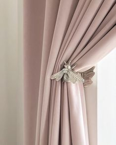 Queen bee curtain tie backs Balcony Curtains, Home Curtains, Rustic Curtains, Kitchen Curtains, Ceiling Curtains, Anthropologie Curtains, Rideaux Design, Curtain Tie Backs, Curtain Designs
