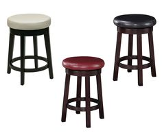 24H Seat Backless Round Barstool Faux Leather Wood Stool Counter Chair -3 Colors