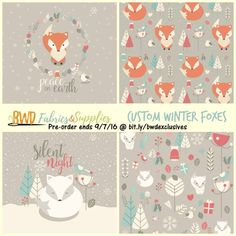 Gorgeous winter foxes Christmas themed print on custom cotton lycra jersey…