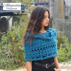 Hand crochet woman poncho, Crochet cape for women, Shoulder warmer, Winter fashion accessories Christmas gift ideas from daughter and son Poncho Au Crochet, Crochet Cape, Crochet Wool, Hand Crochet, Capes For Women, Gifts For Women, Clothes For Women, Ponchos For Sale, Christmas Gifts For Her