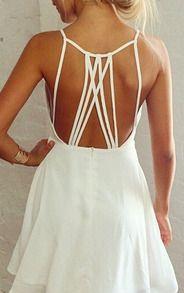 White Spaghetti Strap Backless Chiffon Dress - Sheinside.com