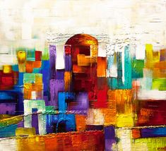 Hey, I found this really awesome Etsy listing at https://www.etsy.com/listing/189594509/jerusalem-abstract-painting-colorful