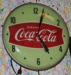 """COCA-COLA PAM WALL CLOCK Electric clock with fishtail face on green background; runs; some crazing on face; H-15"""", VG-EX"""