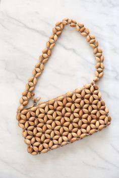 Vintage Light Brown Crochet Woven Beaded Brown Hand Bag // Wood Beaded Purse