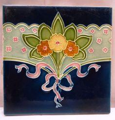 ANTIQUE TILE CERAMIC PORCELAIN ART NOUVEAU FLOWER DESIGN VINTAGE DECORATIVE ART