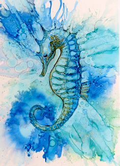 Seahorse. Alcohol Ink on Yupo - Helen Cook More