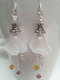 White Lucite Flower Earrings  Bridal Jewelry  White by LoveByLily, $15.00
