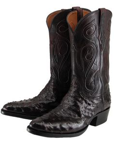 Black Jack Men's Black Cherry Full Quill Ostrich Western Boot
