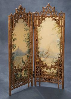 screen with two carved wooden frames in rustic fretwork style, with centre folding hinges, each frame with a hand-painted on paper scene of the countryside with details of flowers, birds and a distant castle on the mountain top. Doll Furniture, Dollhouse Furniture, Antique Furniture, French Furniture, Antique Dollhouse, Antique Dolls, Folding Screen Room Divider, Folding Screens, Room Dividers
