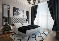 Classic black and white bedroom
