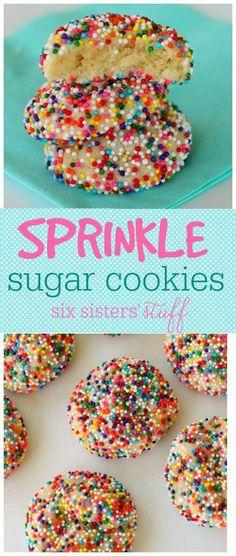 Sprinkle Sugar Cookie recipe. Easy and cute dessert  happymoneysaver.com