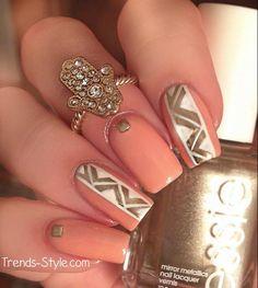 gold & coral nail design