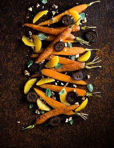 Charred carrots with walnut and orange
