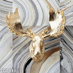 Mount a metallic Z Gallerie Moose Head against a textured wall for unexpected attitude. #Fauxidermy
