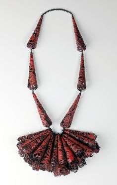HEEJIN HWANG-KR/USA  Necklace: Temptation 2010  Steel wire, enamel, ground rock  60 x 20 x 15 cm  Photograph: Jim Escalante