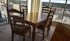 Oak Wood Dining Table with 4 Chairs and Center Extension