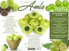 Natural health benefits of Amla - Indian Gooseberry. Includes recipes for amla smoothie and amla chutney. Good Health Tips, Healthy Tips, Healthy Choices, Healthy Eating, Stay Healthy, Health And Wellbeing, Health And Nutrition, Health Benefits, Home Remedies