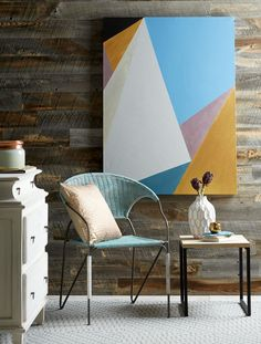 Grab some painters tape and a plain canvas to create modern art with sample paint pots. A spare sheet of plywood or a wood canvas works as a surface, too. #paintsamplecrafts #leftoverpaintideas #craftideas #diy #crafts #bhg Canvas Art Projects, Easy Canvas Art, Wood Canvas, Blank Canvas, Modern Canvas Art, Modern Paintings, Diy Canvas, Geometric Painting, Geometric Wall Art