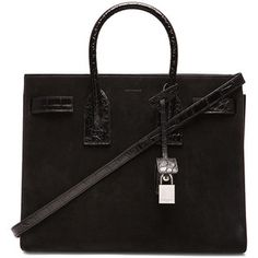 Saint Laurent Small Suede & Croc Embossed Sac De Jour