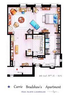 Plan de l'appartement de Carrie Bradshaw par  Iñaki Aliste Lizarralde