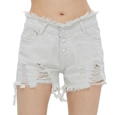 AZULINA Vintage Ripped Hole Fringe Denim Women Shorts Jeans Fashion Light Gray Blue Mid Waist Sexy Casual 2017 Spring Summer