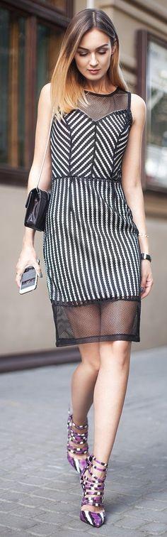 #winter #fashion /  Striped Sleeveless Dress + Purple Pumps