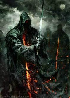 "Nazgul by Aleksi Briclot. ""Those who used the Nine Rings became mighty in their day, kings, sorcerers, and warriors of old. They obtained glory and great wealth, yet it turned to their undoing. They had, as it seemed, unending life, yet life became unendurable to them."""