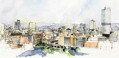 Manchester skyline - Simone Ridyard, Manchester architect and artist Landscape Sketch, Urban Landscape, Pen And Watercolor, Watercolor Paintings, Watercolours, Cool Sketches, Cool Drawings, Watercolor Architecture, Architecture Sketches