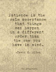 """Patience is the calm acceptance that things can happen in a different order than the one you have in mind."" - David G. Allen."