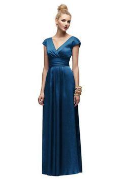 De raso azul manga de la tapa con estilo cubierto un piso de línea longitud vestido de dama de honor