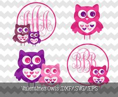 Valentine Owl Monograms.DXF/.SVG/.EPS Files by KitaleighBoutique