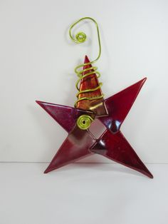 Bright Red Christmas Fused Glass Star Ornament