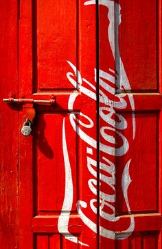 red cocacola door