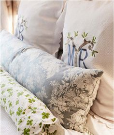 Monogram pillows for the master. Home Bedroom, Master Bedroom, Bedroom Decor, Bedroom Ideas, Leirvik Bed, New West, Linens And Lace, Linen Bedding, Bed Linens