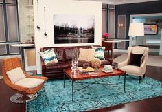 raffinierter Look des Wohnzimmers mit Bohemian Hauch