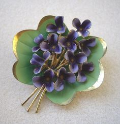 Brooch Set With Hand-painted Enamel Violets