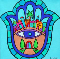 """""""Jerusalem Hamsa"""" by Laura Bolter, Kansas City //  // Imagekind.com -- Buy stunning, museum-quality fine art prints, framed prints, and canvas prints directly from independent working artists and photographers."""