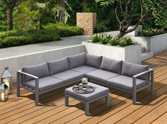 Renava Coastal Outdoor Grey Sectional Sofa & Coffee Table Set - VIG Furniture Features: Set Includes: Left & Right 2 Seater, 1 Corner & 1 OttomanGrey Powder Coated Aluminium FrameGrey Weatherproof Fabric Foam Seat CushionsDac Pool Furniture, Outdoor Furniture Sets, Coastal Furniture, Furniture Sale, Grey Sectional Sofa, Outdoor Sectional, Outdoor Seating, Outdoor Decor, Aluminum Patio