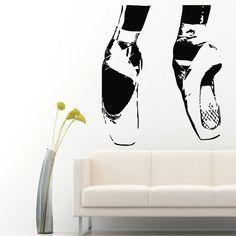 Wall Vinyl Decal Sticker Girl Ballerina Pointes Ballet Shoes Interior Decor m108
