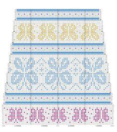 kuva Loom Knitting Stitches, Fair Isle Knitting Patterns, Knitting Charts, Free Knitting, Knitting Socks, Crochet Patterns, Knit Or Crochet, Filet Crochet, Crochet Crafts