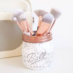 Marble Ball mason jar  desk decor pen pot makeup by TillySage